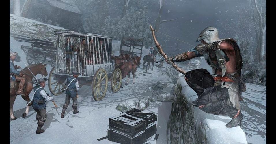 """Lançado em 2012, """"Assassin's Creed III"""" mostrou o assassino norte-americano Connor em uma trama nos Estados Unidos."""
