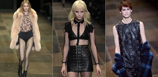 Modelos apresentam looks da Saint Laurent para o Inverno 2013 durante a semana de moda de Paris (04/03/2013) - Ian Langsdon/EFE