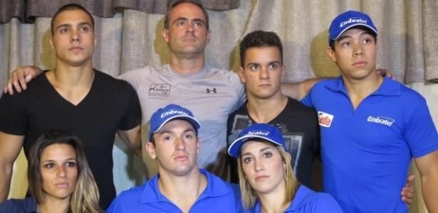 05.mar.2013 - Com a presença de Diego e Danielle Hypolito e Jade Barbosa, ginastas falam sobre a liberação pelo Flamengo no Rio