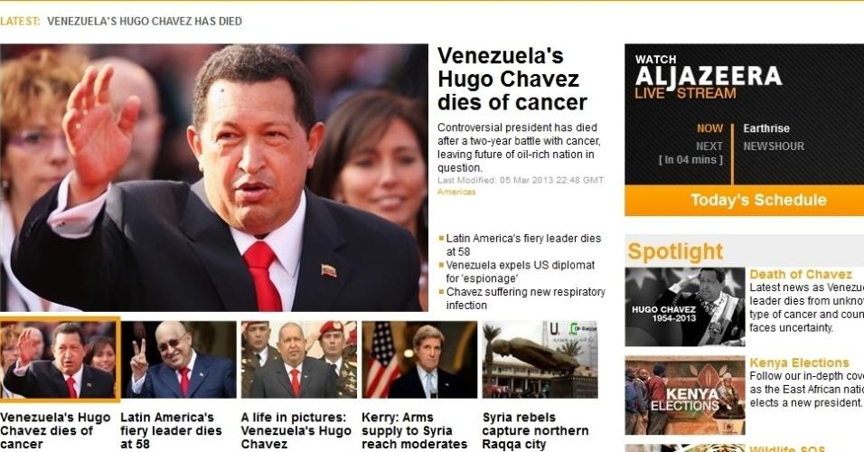"""5.mar.2013 - A emissora de TV árabe """"Al Jazeera"""" dá a notícia da morte do presidente venezuelano, Hugo Chávez, 58, nesta terça-feira, vítima de um câncer na região pélvica, com o qual convivia há cerca de um ano e meio, em seu site em inglês"""