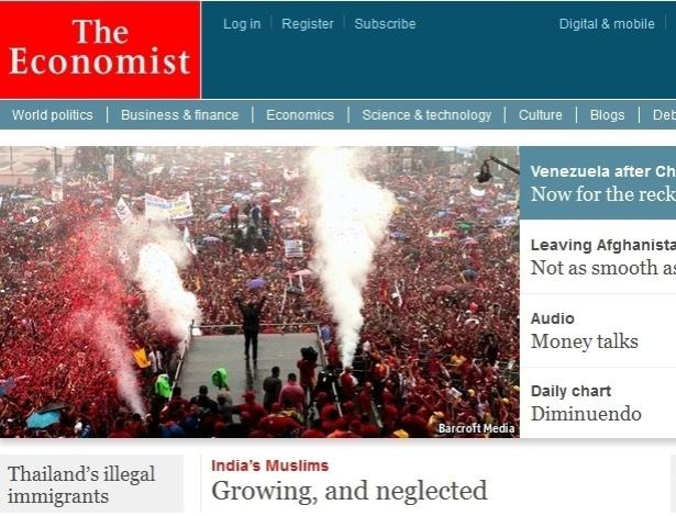 """5.mar.2013 - A revista britânica """"The Economist"""" destaca a morte do presidente venezuelano, Hugo Chávez, 58, nesta terça-feira, fazendo uma avaliação de como ficará o governo do país sem o líder. O presidente foi vítima de um câncer na região pélvica, com o qual convivia há cerca de um ano e meio"""
