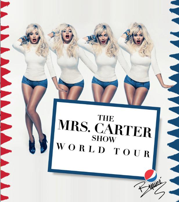 """5.mar.2013 - Beyoncé aparece loira em imagem promocional de sua nova turnê, """"The Mrs. Carter Show"""""""