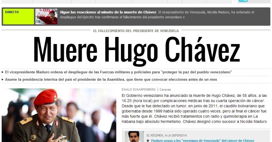 """5.mar.2013 - O jornal espanhol El País destaca a notícia da morte do presidente venezuelano, Hugo Chávez, 58, nesta terça-feira, vítima de um câncer na região pélvica, com o qual convivia há cerca de um ano e meio. A publicação lembra do líder venezuelano como """"o caudilho bolivariano"""""""