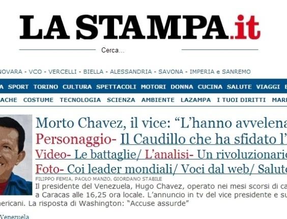"""5.mar.2013 - O jornal italiano """"La Stampa"""" destaca a morte do presidente venezuelano, Hugo Chávez, nesta terça-feira, chamando- """"de último caudilho"""". O presidente foi vítima de um câncer na região pélvica, com o qual convivia há cerca de um ano e meio, aos 58 anos"""