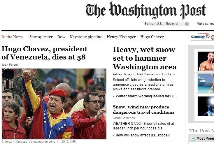 """5.mar.2013 - O jornal norte-americano """"The Washington Post"""" anuncia a morte do presidente da Venezuela, Hugo Chávez, nesta terça-feira. Ele foi vítima aos 58 anos de um câncer, com o qual convivia há cerca de um ano e meio"""