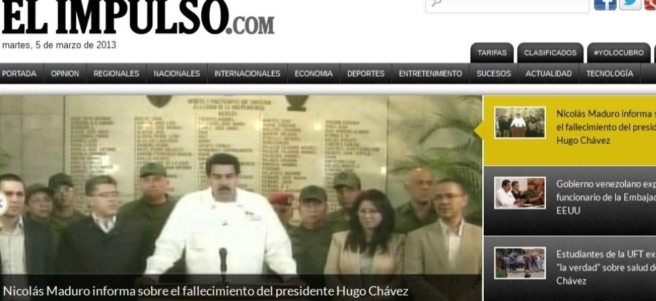 """5.mar.2013 - O jornal venezuelano """"El Impulso"""" dá a notícia da morte do presidente venezuelano, Hugo Chávez, 58, nesta terça-feira, vítima de um câncer na região pélvica, com o qual convivia há cerca de um ano e meio"""