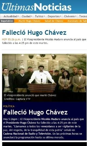 """5.mar.2013 - O jornal venezuelano """"Últimas Notícias"""" dá a notícia da morte do presidente venezuelano, Hugo Chávez, 58, nesta terça-feira, vítima de um câncer na região pélvica, com o qual convivia há cerca de um ano e meio"""