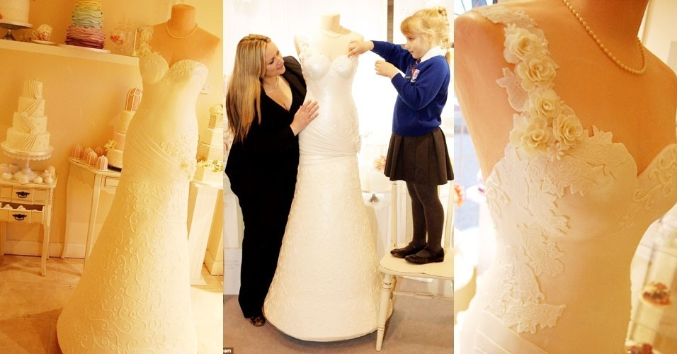 Hannah (à dir.) ajuda a mãe a dar os retoques finais no lindo - e delicioso - vestido de noiva