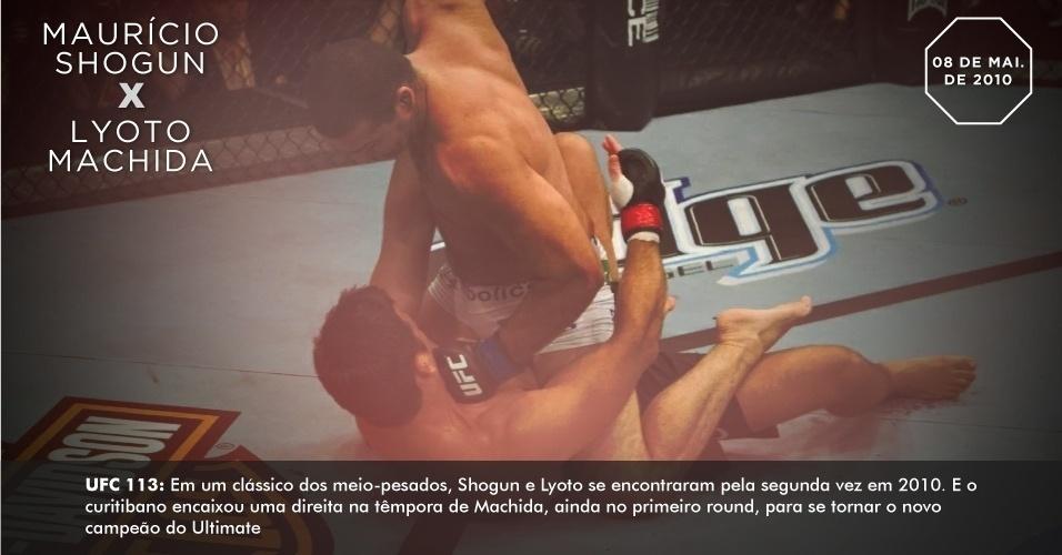 UFC 113: Em um clássico dos meio-pesados, Shogun e Lyoto se encontraram pela segunda vez em 2010. E o curitibano encaixou uma direita na têmpora de Machida, ainda no primeiro round, para se tornar o novo campeão do Ultimate