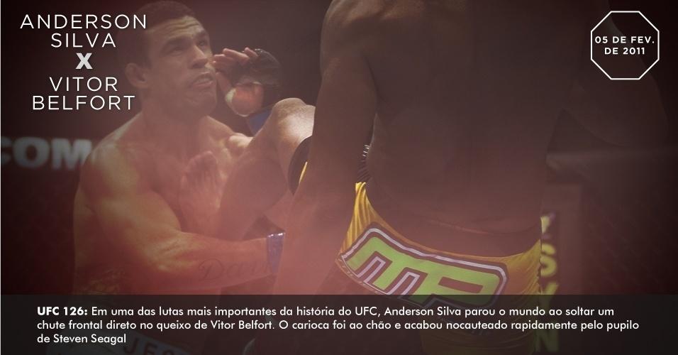 UFC 126: Em uma das lutas mais importantes da história do UFC, Anderson Silva parou o mundo ao soltar um chute frontal direto no queixo de Vitor Belfort. O carioca foi ao chão e acabou nocauteado rapidamente pelo pupilo de Steven Seagal