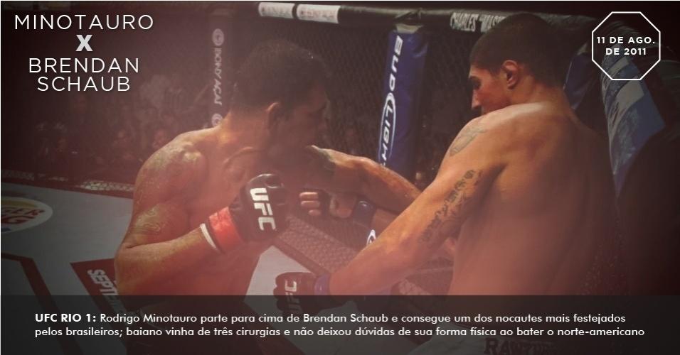 UFC Rio 1: Rodrigo Minotauro parte para cima de Brendan Schaub e consegue um dos nocautes mais festejados pelos brasileiros; baiano vinha de três cirurgias e não deixou dúvidas de sua forma física ao bater o norte-americano