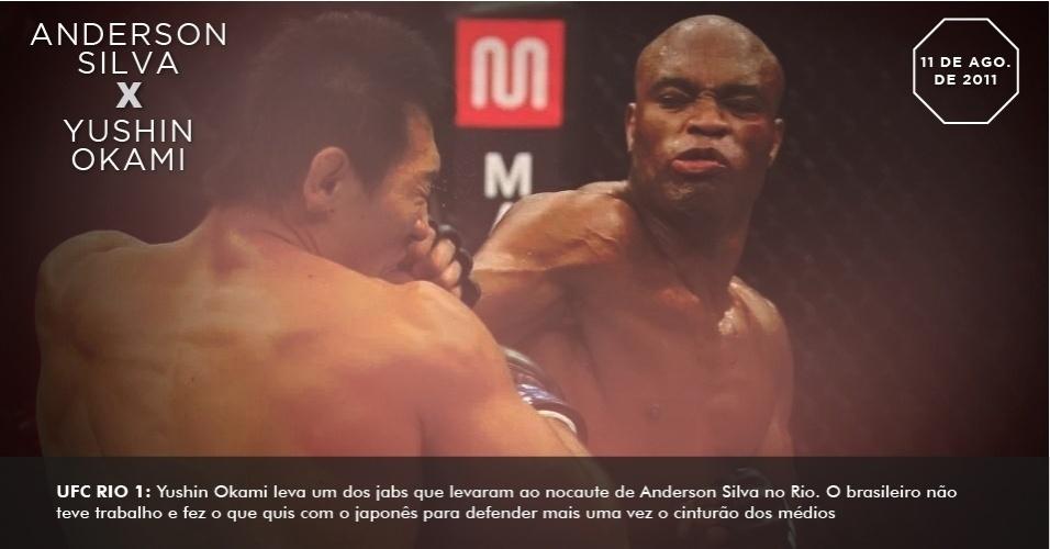 UFC Rio 1: Yushin Okami leva um dos jabs que levaram ao nocaute de Anderson Silva no Rio. O brasileiro não teve trabalho e fez o que quis com o japonês para defender mais uma vez o cinturão dos médios