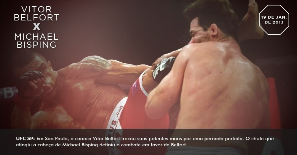 UFC SP: Em São Paulo, o carioca Vitor Belfort trocou suas potentes mãos por uma pernada perfeita. O chute que atingiu a cabeça de Michael Bisping definiu o combate em favor de Belfort