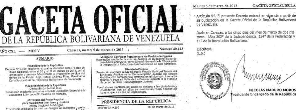 6.mar.2013 - A Gazeta Oficial da União da Venezuela publicada nesta quarta-feira traz o primeiro decreto assinado pelo presidente interino Nicolás Maduro, que assumiu hoje, até que sejam realizadas novas eleições no país