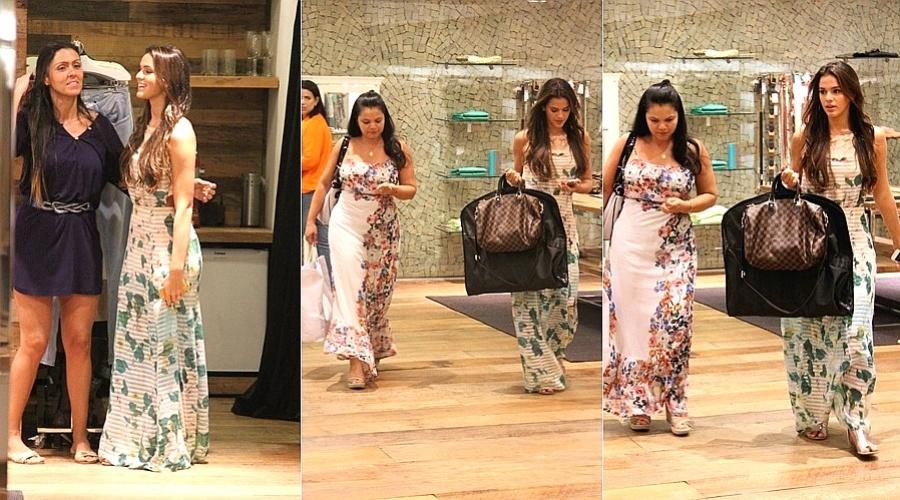 6.mar.2013 - Acompanhada da mãe, Bruna Marquezine fez compras em um shopping da zona oeste do Rio