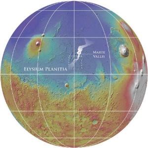 Gráfico mostra localização do sistema de canais com mil quilômetros de comprimento abaixo da planície Elysium, que fica na região de Marte Vallis, em Marte - Nasa/MOLA Team/Smithsonian Institution