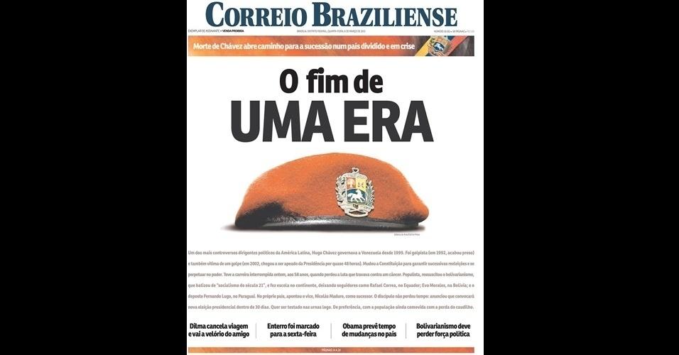 """6.mar.2013 - """"O fim de uma era"""" é a manchete do jornal """"Correio Braziliense"""", de Brasília, sobre a morte de Hugo Chávez. O presidente da Venezuela morreu na terça-feira (5), aos 58 anos, vítima de um câncer na região pélvica"""