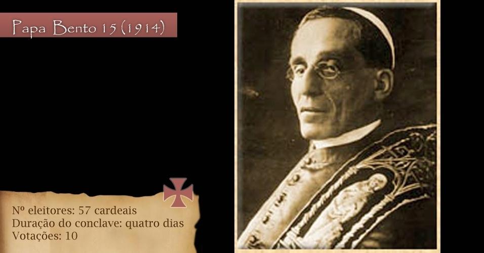 Em 1914, para eleger o Bento  15, foram 57 cardeais eleitores para dez votações em quatro dias de conclave