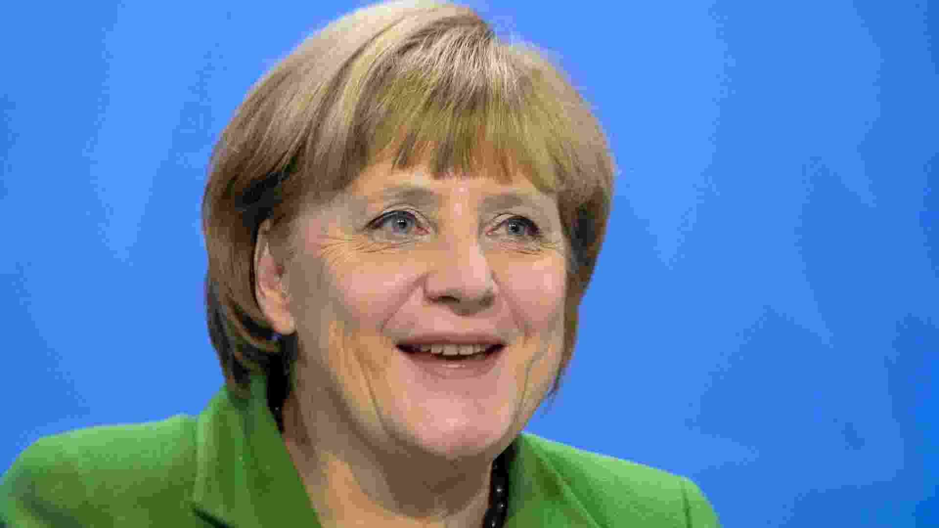 7.mar.2013 - A chanceler alemã, Angela Merkel, líder do partido União Democrata-Cristã (CDU) desde 2000. É líder de fato da União Europeia e citada pela revista Forbes como a segunda pessoa mais poderosa do mundo, a mais alta posição já alcançada por uma mulher - AFP PHOTO / Johannes Eisele