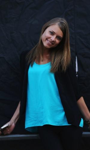 22.jul.2012 - A bela russa Dasha Kapustina é a namorada do piloto Fernando Alonso desde 2012