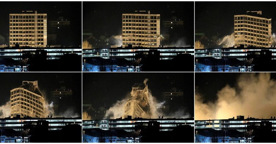 8.mar.2013 - Em montagem de fotografias, edifício de escritórios na cidade suíça de Aarau, a 50km de Zurique, é demolido para dar lugar a novos prédios residenciais e comerciais. O edifício, que pertencia à empresa Rockwell Automation, tinha 45m de altura e havia sido construído em 1966