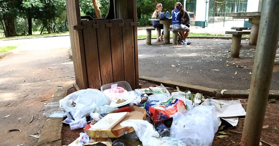 8.mar.2013 - Lixo se acumula fora de lixeiras no parque da Aclimação, na região central de São Paulo