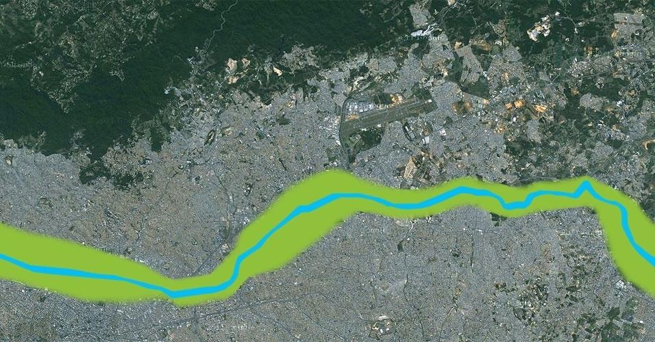 Área verde nas margens do rio Tietê