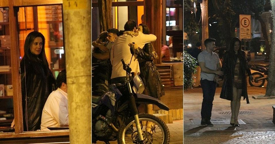 8.mar.2013 - Acompanhada do namorado, Claudia Raia curte noite com amigos em restaurante no Leblon