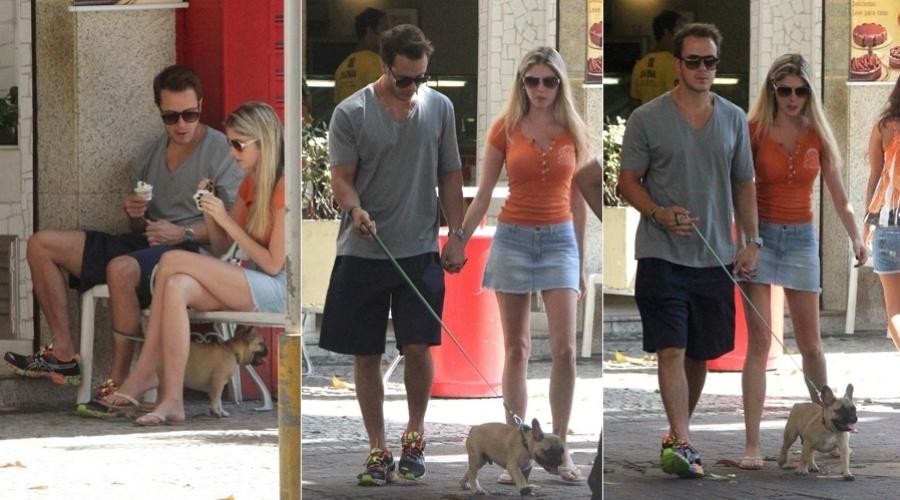 9.mar.2013 - Bárbara Evans passeou com o namorado, Ricardo Macedo, pelo bairro de Ipanema, zona sul do Rio. O casal aproveitou para tomar sorvete