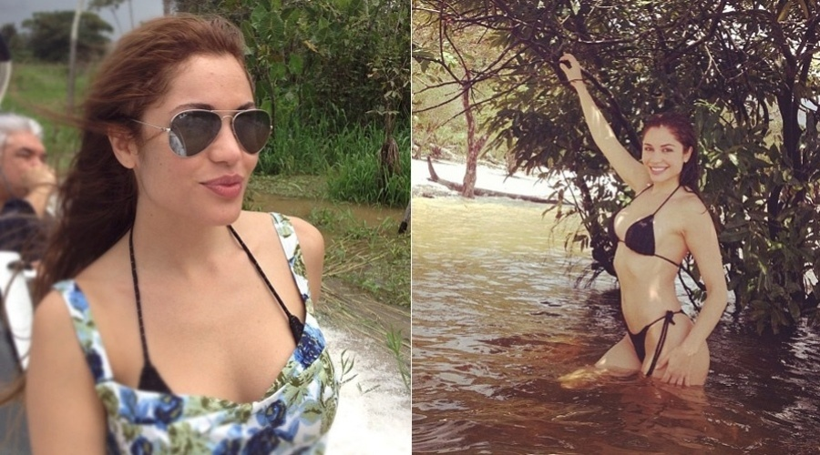"""9.mar.2013 - Maria Melilo nadou no rio Amazonas. A imagem foi divulgada pela atriz por meio de uma rede social. """"Muito bom nadar no rio Amazonas"""", escreveu ela"""