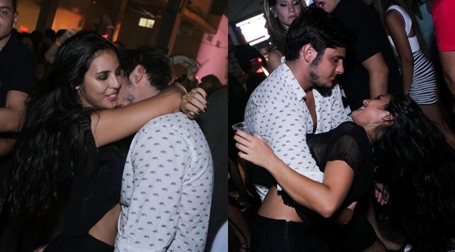09.mar.2013 - Bruno Gissoni e Yanna Lavigne trocaram beijos durante a festa M.I.S.S.A no Centro de Convenções SulAmérica, no Rio de Janeiro