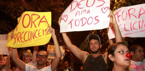 Protesto, em Ribeirão Preto (SP), contra o pastor e deputado Marco Feliciano (PSC-SP), eleito presidente da Comissão de Direitos Humanos da Câmara e acusado de manifestações racistas e homofóbicas - Márcia Ribeiro/UOL
