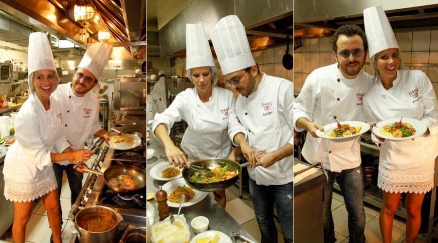 11.mar.2013 - Karina Bacchi preparou um prato que leva o seu nome em um restaurante em São Paulo. A atriz e modelo teve companhia do chef Isaac Azar