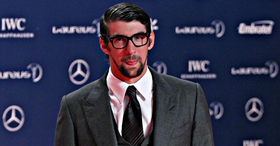 11.mar.2013 - Michael Phelps chega ao Teatro Municipal do Rio para o Prêmio Laureus