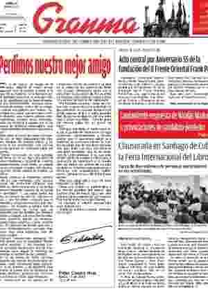 Primeira página do diário oficial de Cuba, o Granma, desta segunda-feira (11) - Reprodução/Granma
