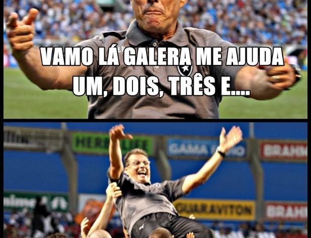 Oswaldo de Oliveira puxa o coro na comemoração do Botafogo