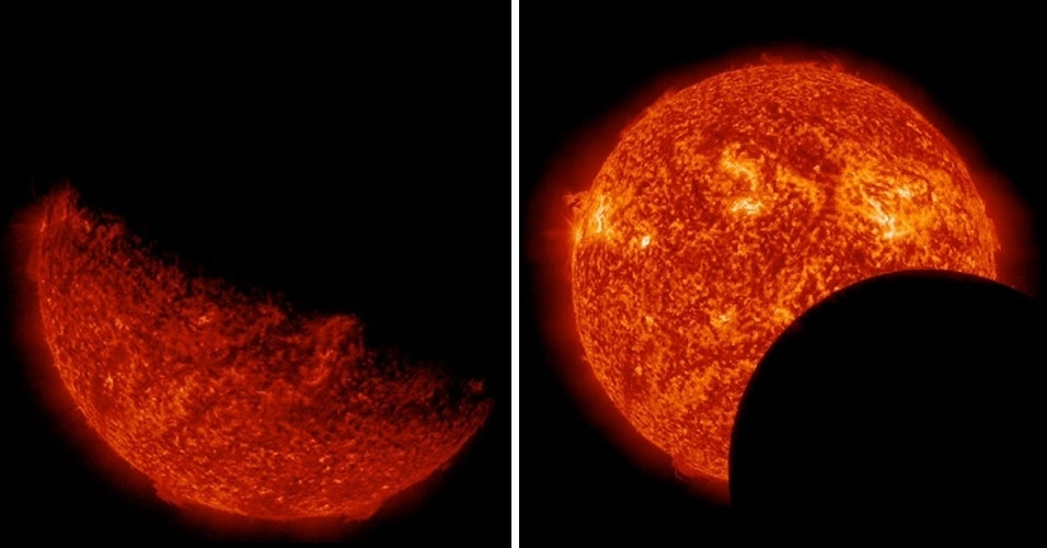 12.03.2013 - Março - O Observatório Solar Dinâmico capturou duas imagens de eclipses em 11 de março. A primeira, à esquerda, mostra a Terra passando na frente do Sol; à direita, o Sol é encoberto parcialmente pela Lua
