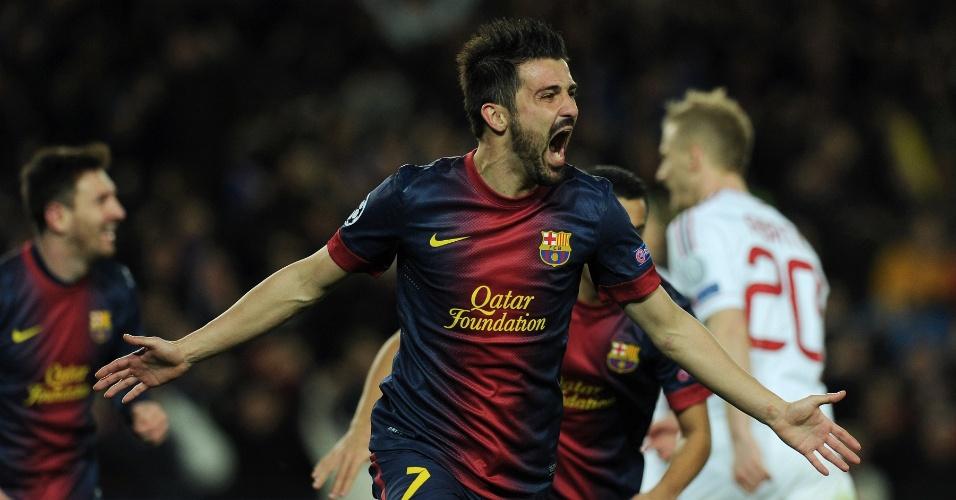 12.mar.2013 - David Villa comemora o terceiro gol do Barcelona sobre o Milan