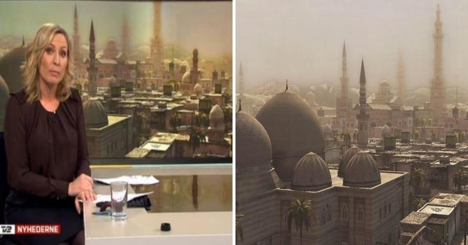 A TV dinamarquesa 'TV 2 Nyhederne' cometeu uma gafe ao usar uma foto do game Assassin's Creed como se fosse uma imagem real da Síria (à esquerda). Alguns depois, com a repercussão na internet, a emissora se retratou e pediu desculpas pela falha. A imagem teria sido retirada do Youtube. À direita, o cenário do jogo