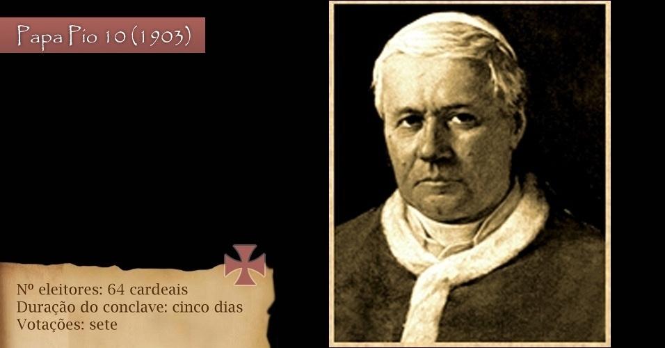 Em 1903, para eleger o papa Pio 10, foram 64 cardeais eleitores para sete votações em cinco dias de conclave