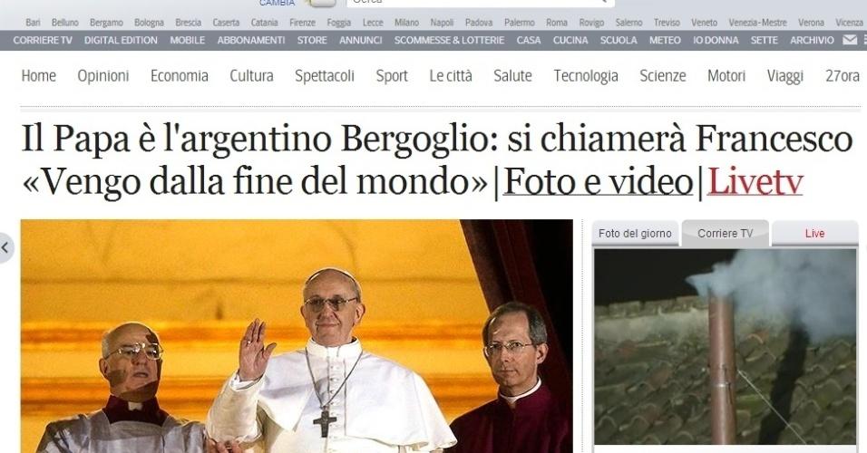 13.mar.2013 - Antes de entrar na página principal do italiano Corriere Della Sera o internauta via exclusivamente a notícia sobre a escolha do argentino Jorge Mario Bergoglio.
