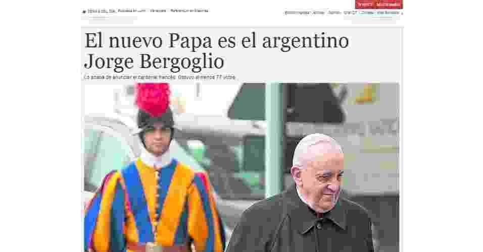 13.mar.2013 - O jornal argentino Clarín destacou na página principal de seu site a escolha do cardeal Jorge Mario Bergoglio, da Argentina, para suceder Bento 16 - Reprodução/Clarín