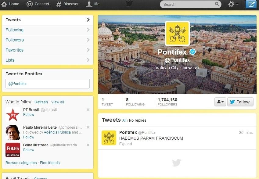 13.mar.2013 - O Twitter oficial do papa Francisco enviou a primeira postagem postagem do novo papado.