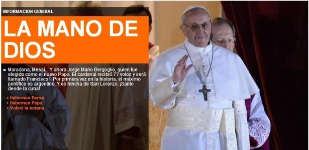 Segundo o jornal argentino, papa Francisco I torce para o San Lorenzo de Almagro - Reprodução/ole.com.ar