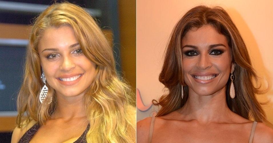 """Vice campeã do """"BBB5"""", Grazi Massafera se tornou atriz e está atualmente na televisão como a protagonista de """"Flor do Caribe"""", Ester. Depois que deixou o programa, ela escureceu os cabelos"""