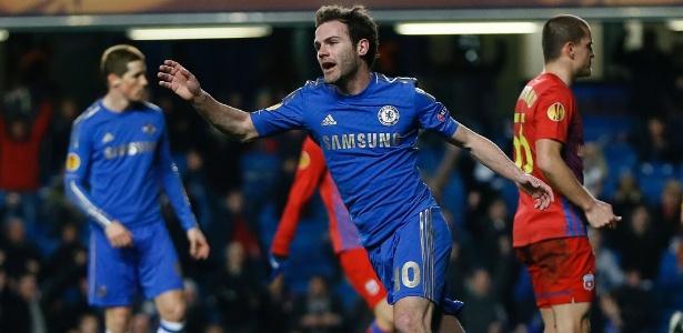 Juan Mata comemora gol durante sua passagem pelo Chelsea