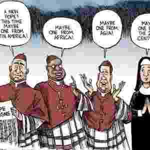 """14.mar.2013 - O americano """"The Washington Post"""" publicou um artigo e uma charge, antes da realização do conclave, onde é defendido que a melhor escolha para papa seria uma mulher - Reprodução/The Washington Post"""