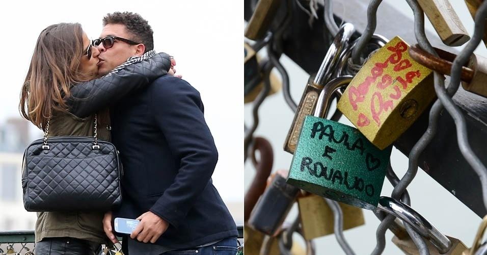 14.mar.2013 - Ronaldo e Paula Morais prendem cadeados na Pont des Arts, em Paris