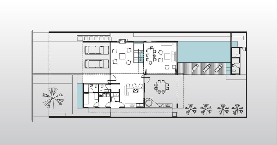 Na porção superior da planta estão quase todos os ambientes sociais da casa Acapulco, no Guarujá (SP). Na parte inferior do desenho, além das áreas de serviço (à esq.), se localizam a cozinha e a churrasqueira (à dir.). O projeto é do arquiteto Flavio Castro