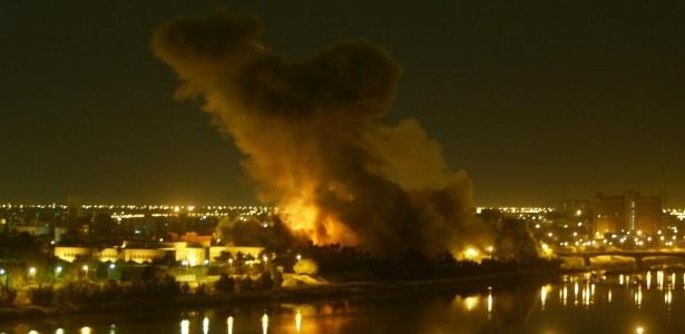 Em 2003, Bagdá, capital do Iraque, é atacada por míssil - Ramzi Haidar/AFP